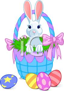Purple easter basket clipart banner free stock Cute White Bunny with Pink Ears Sitting In a Pile of Greenery ... banner free stock
