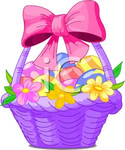 Purple easter basket clipart jpg free stock Purple Easter Basket with Flowers and a Pink Bow, Full of Colored ... jpg free stock