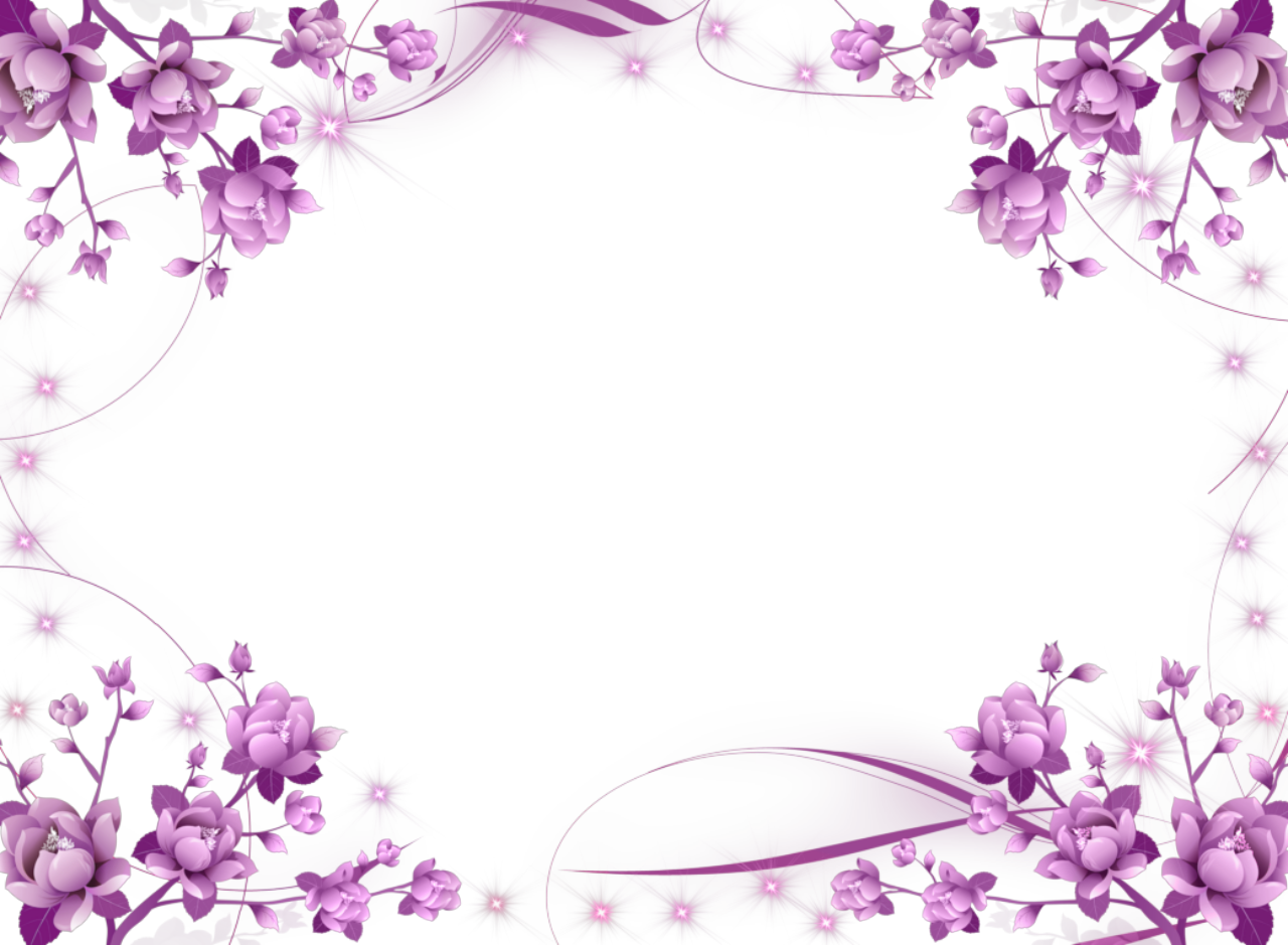 Purple flower border clipart black and white Purple Flower Frame | Purple-Flowers-and-Sparkly-Stars-Picture-Frame ... black and white