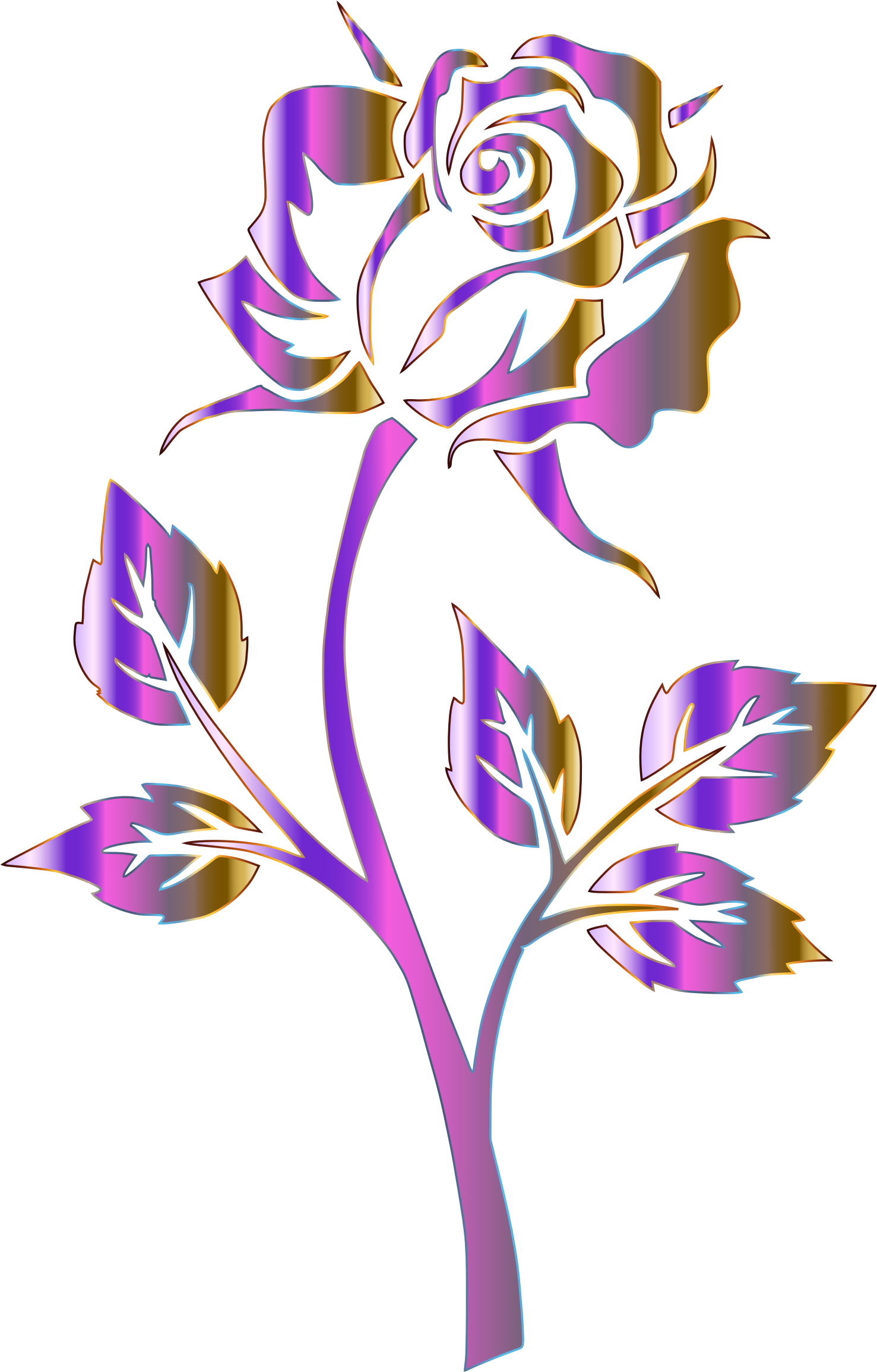 Purple flower clipart no background png library download Clipart - Polychromatic Rose Silhouette No Background png library download