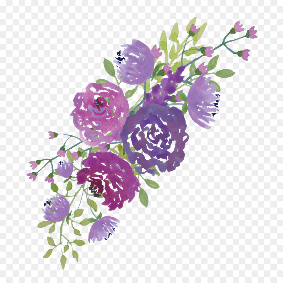 Purple flowers clipart border image free library Purple Watercolor Flower clipart - Flower, Purple, Lavender ... image free library