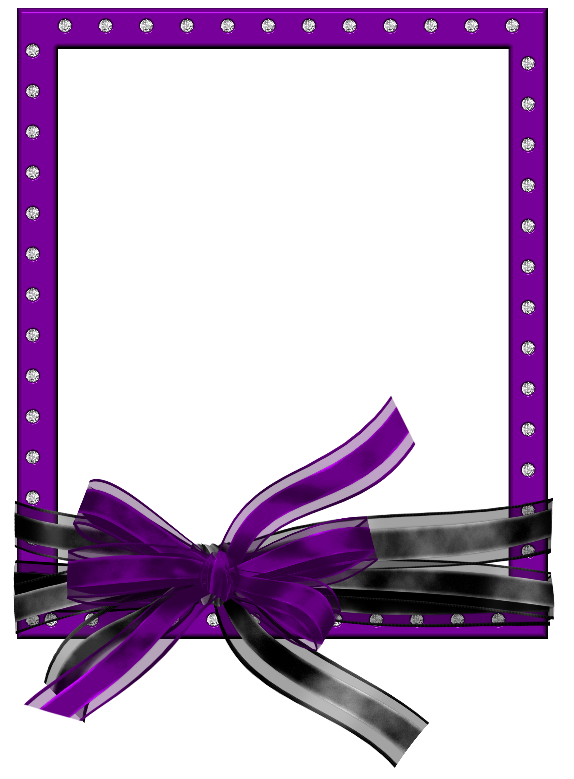 Purple ribbon border clipart graphic library library Purple PNG Photo Frame with Black and Purple Bow | Gallery ... graphic library library