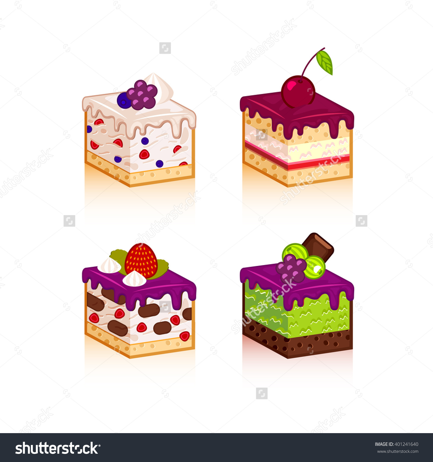 Purple slice cake art clipart royalty free stock Vector Collection Various Cake Slices Isolated Stock Vector ... royalty free stock