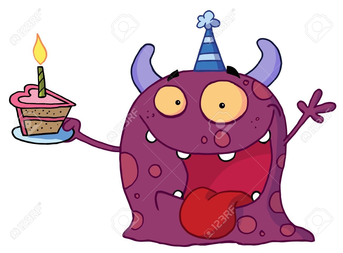 Purple slice cake art clipart graphic royalty free stock Spotted Purple Birthday Monster Wearing A Party Hat And Holding ... graphic royalty free stock