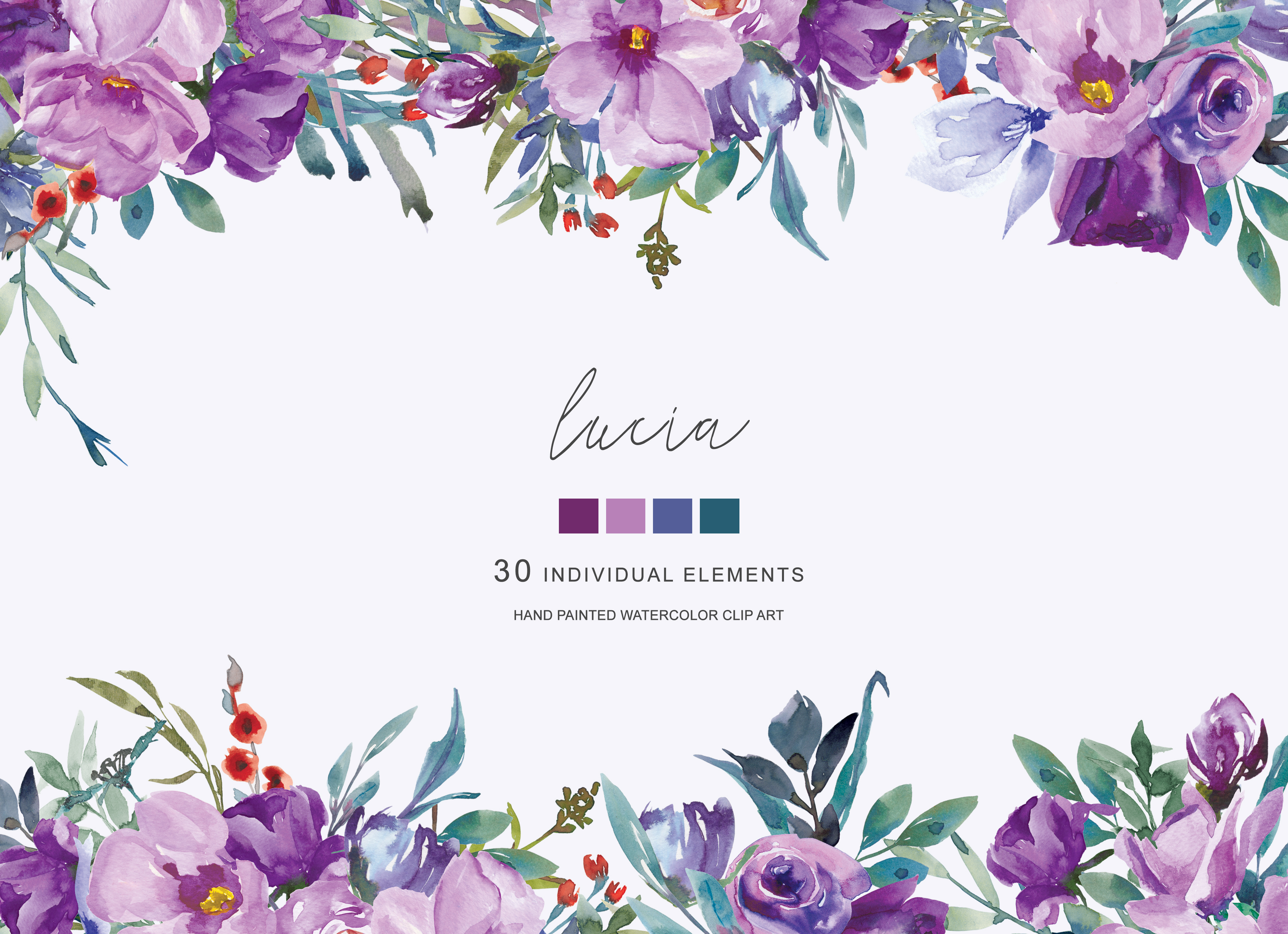 Purpleflowers clipart graphic library library Watercolor Purple Flowers Clipart Hand Painted Flowers graphic library library