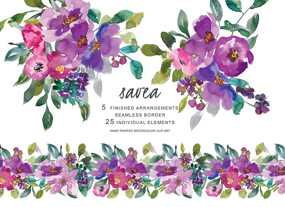 Purpleflowers clipart clip black and white library Watercolor Purple Flowers Clipart clip black and white library