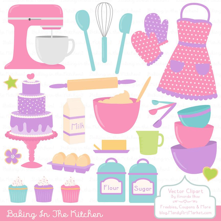 Purplekitchen clipart free stock Fresh Girl Baking in the Kitchen free stock