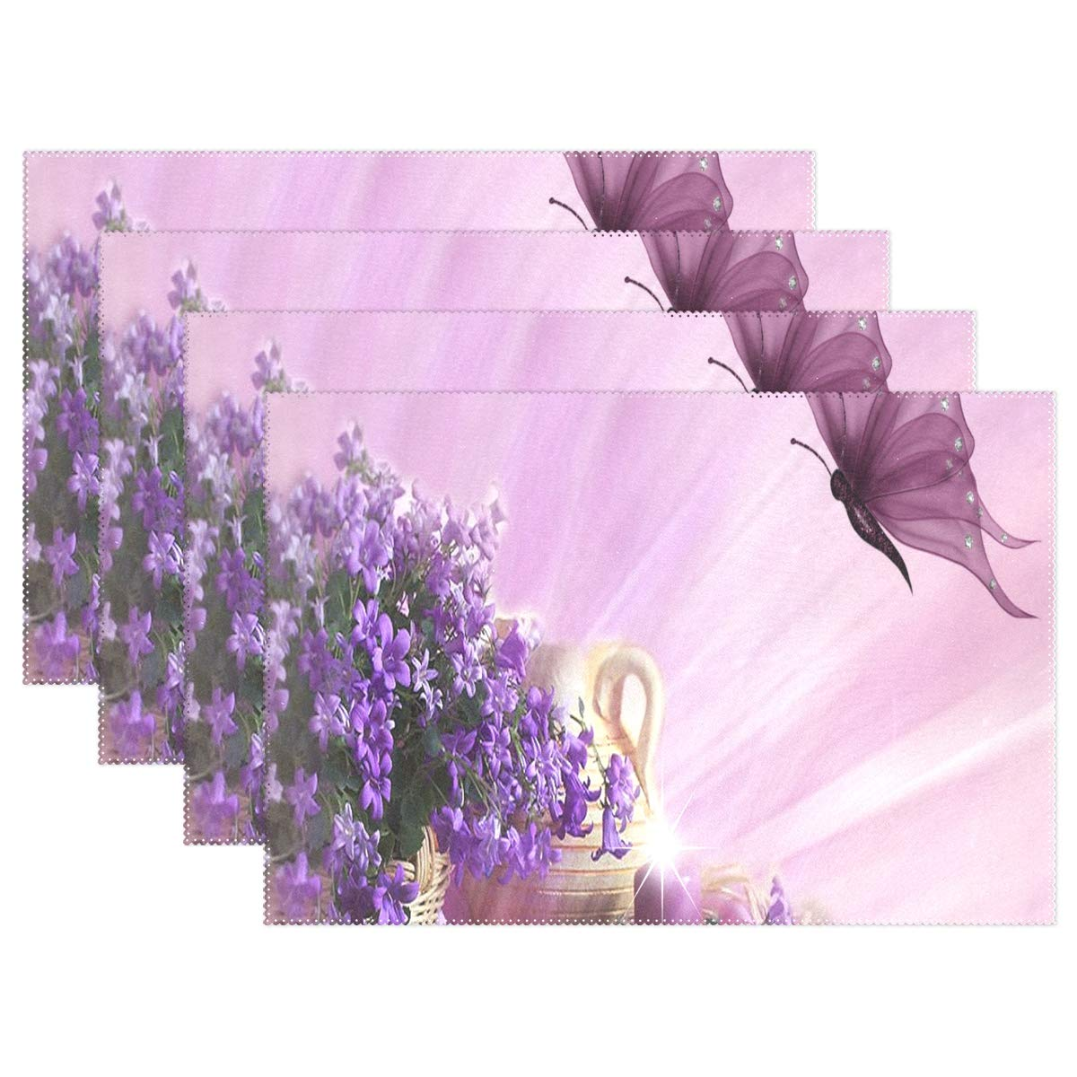 Purplekitchen clipart banner black and white library Amazon.com: NMCEO Place Mats Purple Flower Clipart Butterfly ... banner black and white library