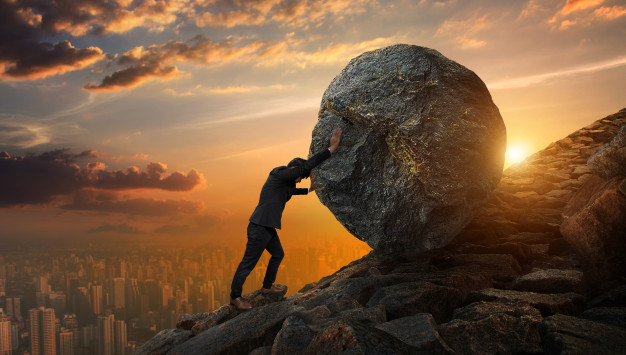 Push a rock up a hill alone clipart teamwork transparent download Business man pushing large stone up to hill , business heavy ... transparent download