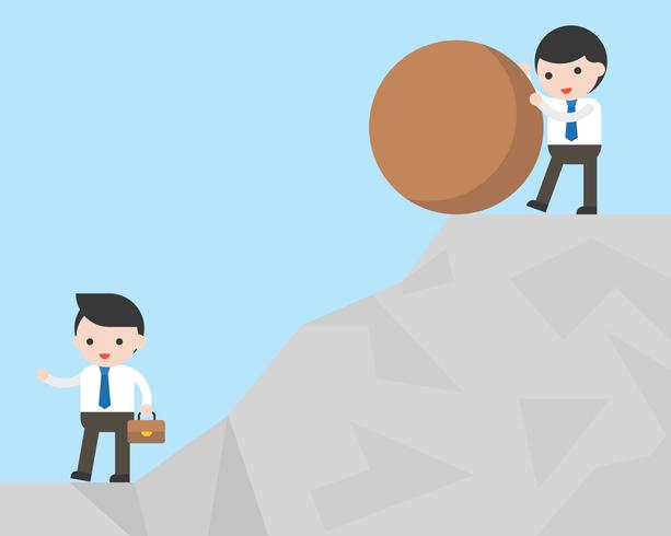 Push a rock up a hill alone clipart teamwork image library library Businessman try to defeat his competitor by pushing rock ... image library library