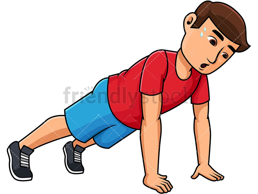 Push clipart free library Young Man Doing Push Ups   Working Out Clipart   Vector ... free library
