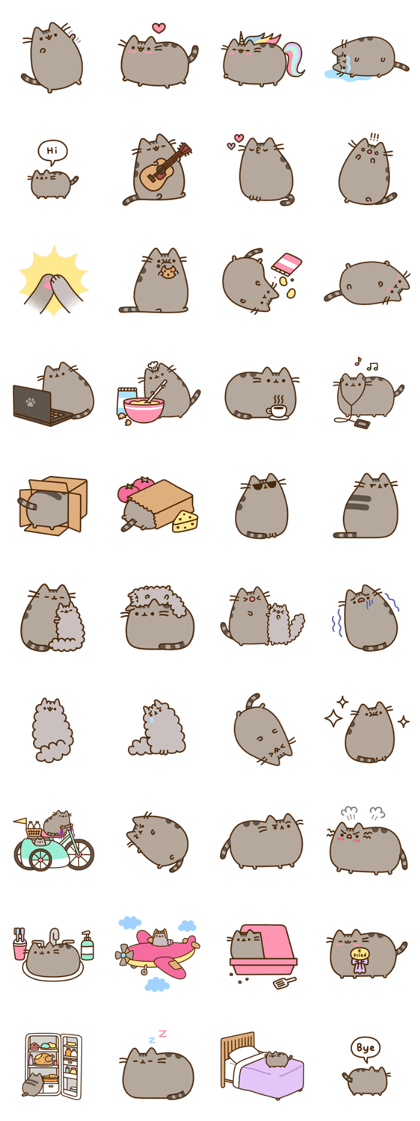 Pusheen cat clipart vector black and white library Finally! The cute chubby gray cat