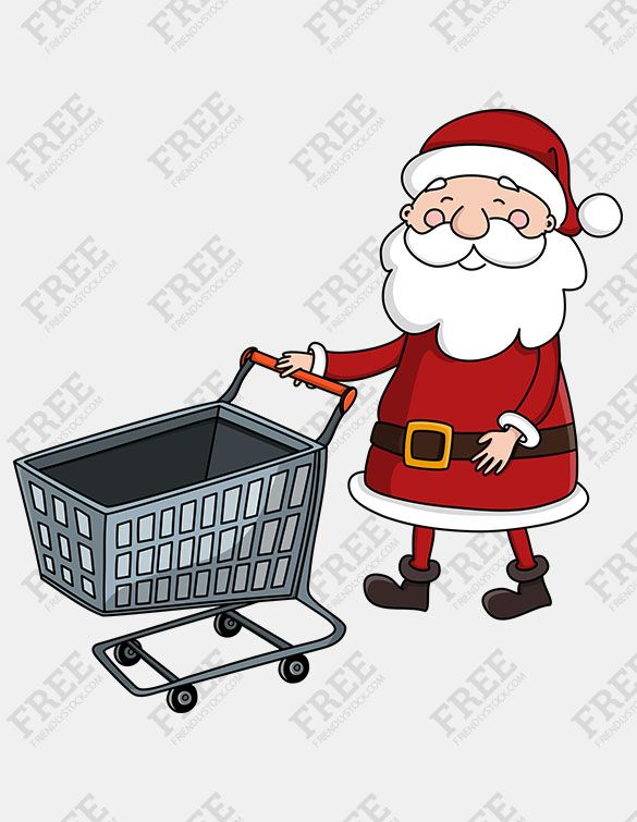 Pushing a full and empty shopping cart clipart clipart library download Free Graphic] Santa Pushing Empty Shopping Cart | [FREE ... clipart library download