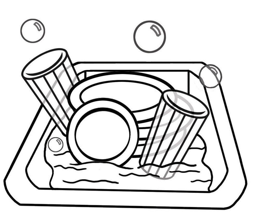 Put away dishes clipart black and white vector download Laundry Clipart Black And White | Free download best Laundry ... vector download