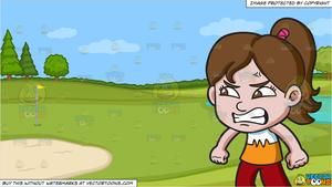 Put on pants clipart white background hq png download A Furious Little Girl and Golf Course Putting Green Background png download