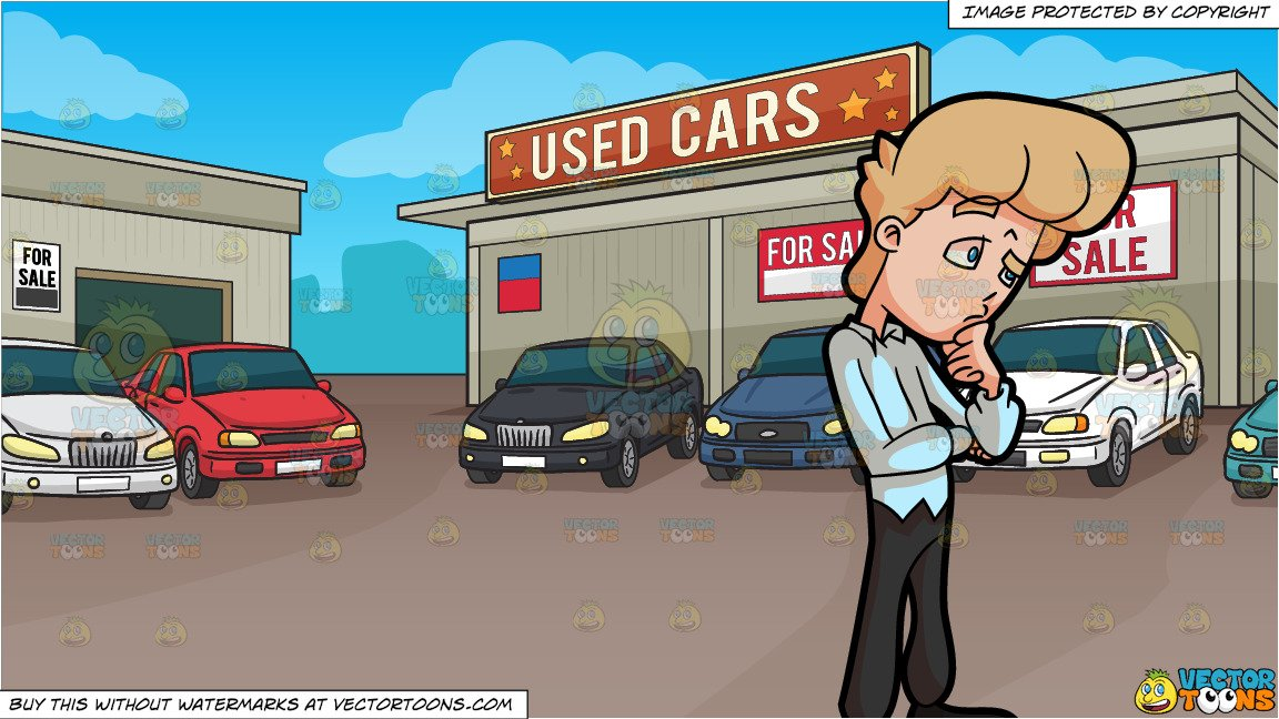 Putting on makeup in the car clipart image freeuse stock A Man Who Cannot Make Up His Mind and Used Car Lot Background image freeuse stock