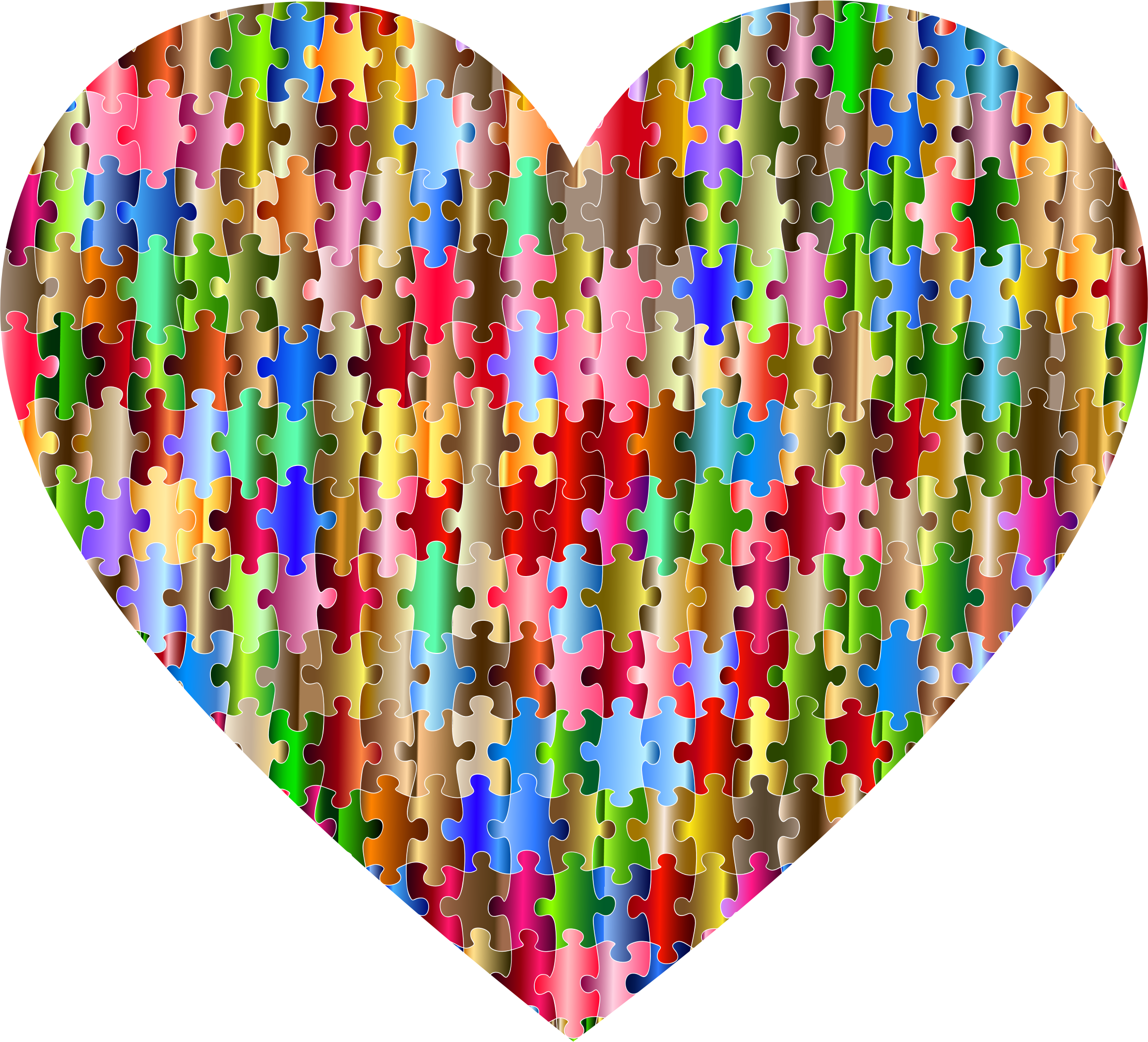 Puzzle heart clipart image black and white download Clipart - Colorful Puzzle Heart 8 image black and white download