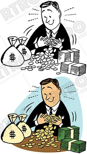 Pvg clipart png royalty free A rich man enjoys his stacks of money and coins vintage ... png royalty free