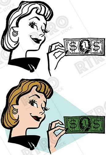 Pvg clipart freeuse stock A smiling woman holds up a dollar bill vintage retro clipart ... freeuse stock