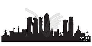 Qatar clipart jpg free Doha Qatar city skyline silhouette - vector clipart jpg free