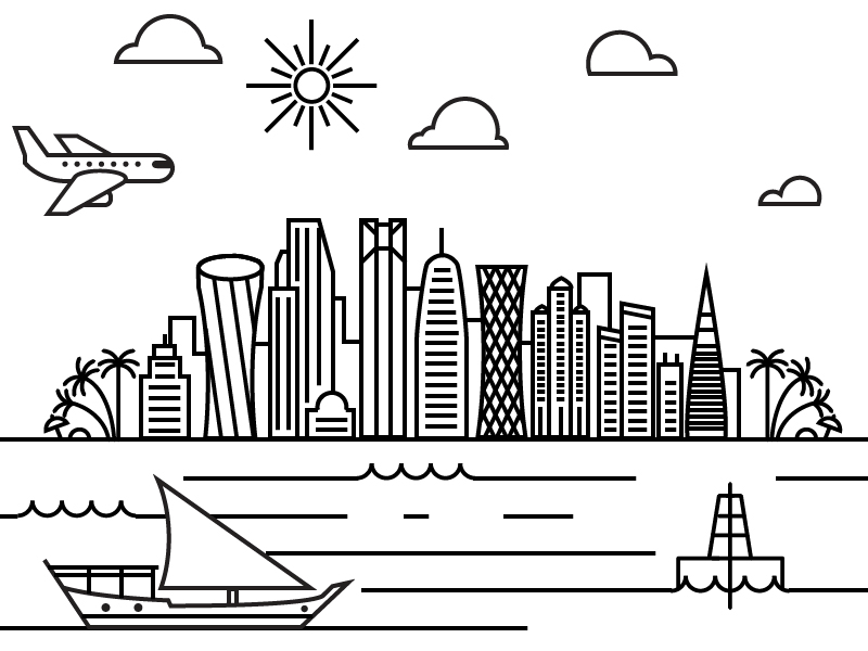 Qatar clipart png black and white download Skyline Clipart qatar 11 - 800 X 600 Free Clip Art stock ... png black and white download