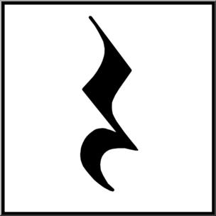 Quarter rest clipart vector black and white library Clip Art: Music Notation: Quarter Rest B&W Unlabeled I ... vector black and white library