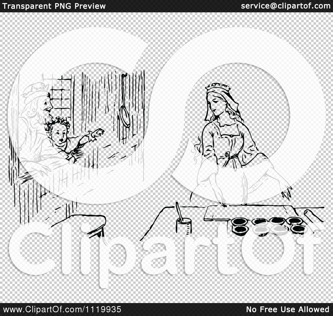 Queen of hearts clipart with no background png black and white stock Clipart Of A Retro Vintage Black And White Queen Of Hearts Cooking ... png black and white stock