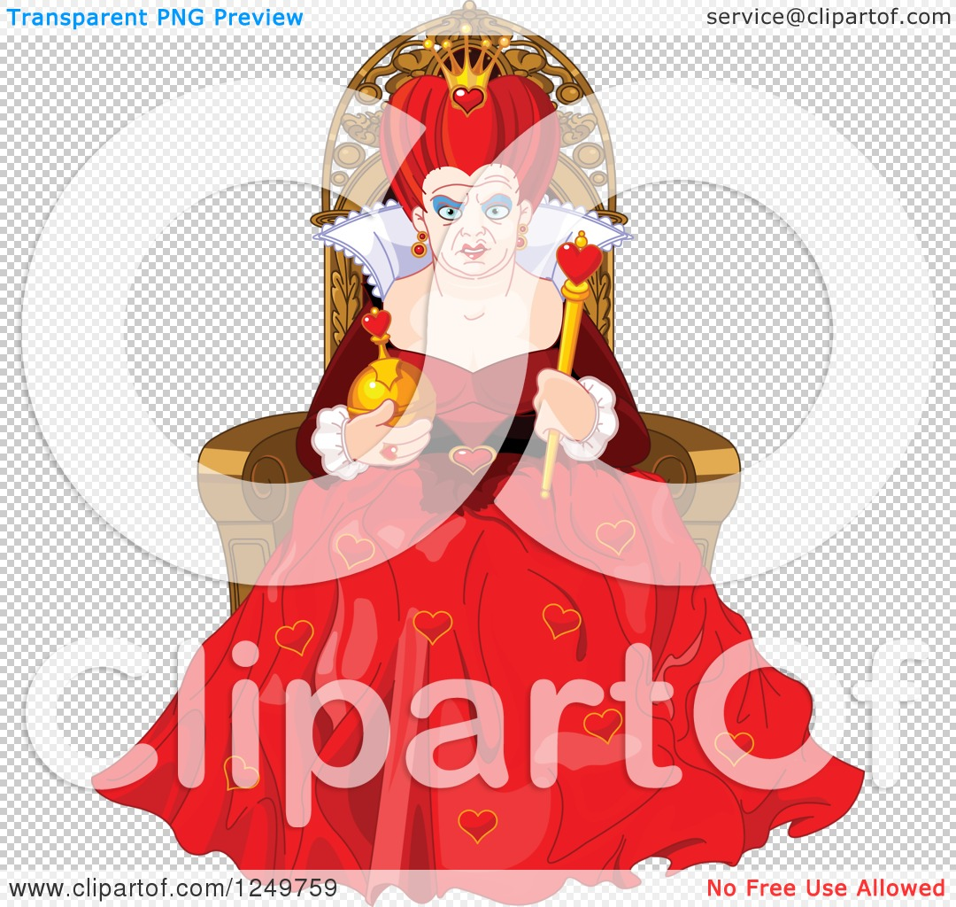 Queen of hearts clipart with no background clip free library Clipart of a Mean Queen of Hearts Sitting on a Throne - Royalty ... clip free library