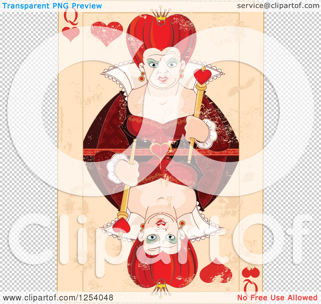 Queen of hearts clipart with no background image black and white library Clipart of a Distressed Queen of Hearts Playing Card - Royalty ... image black and white library