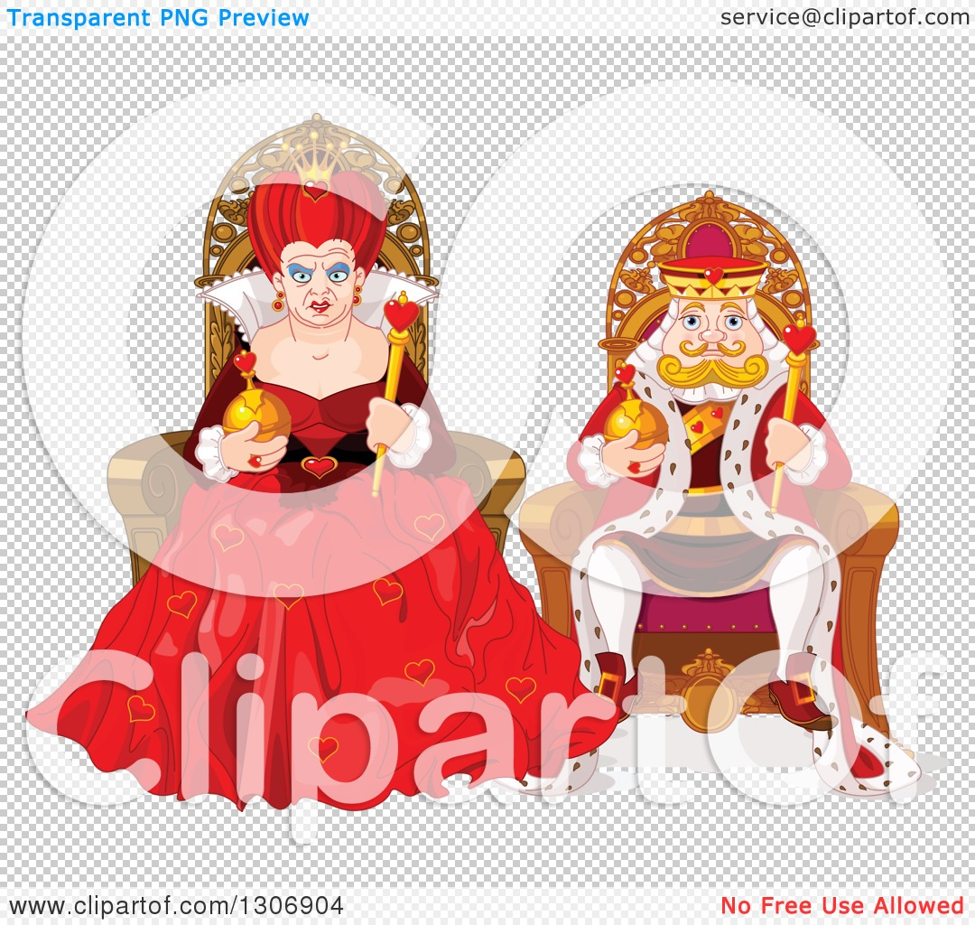 Queen of hearts clipart with no background banner stock Clipart of a Mean Queen of Hearts and Short King Sitting on Their ... banner stock