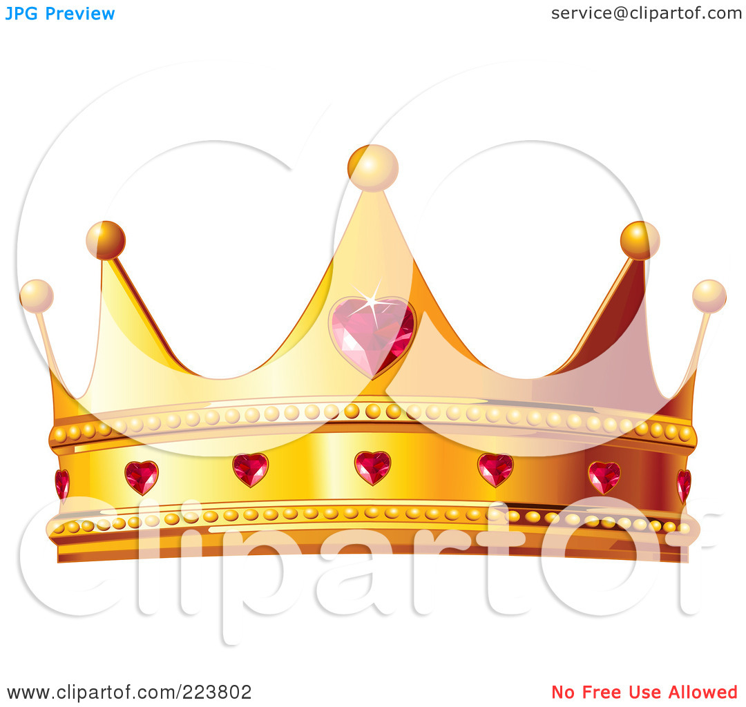 Queen of hearts crown clipart banner free Royalty-Free (RF) Clipart Illustration of a Golden Queen Crown ... banner free