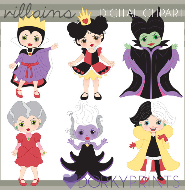 Queen of hearts disney clipart clipart black and white Villain Clipart Personal and Limited Commercial Queen of clipart black and white