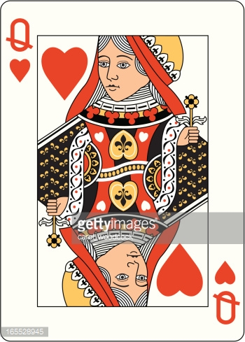 Queen of hearts playing card clipart vector freeuse Queen Of Hearts Playing Card In Blue Vector Art | Getty Images vector freeuse