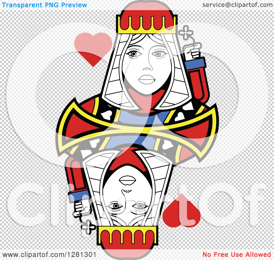 Queen of hearts playing card clipart banner library stock Clipart of a Borderless Queen of Hearts Playing Card - Royalty ... banner library stock