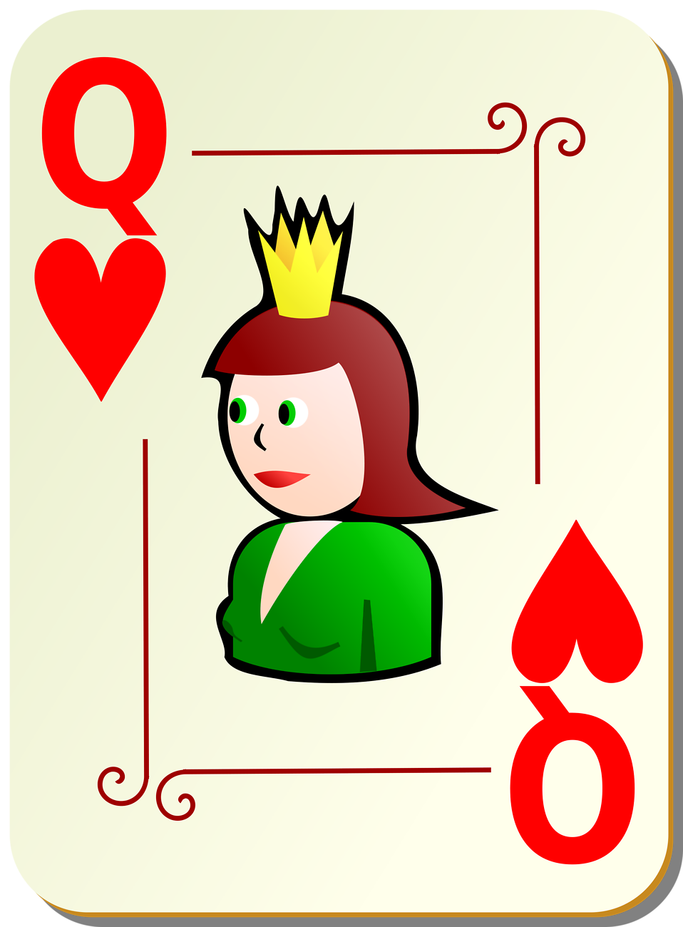 Queen of hearts playing card clipart freeuse stock Playing Cards | Free Stock Photo | Illustration of a Queen of ... freeuse stock