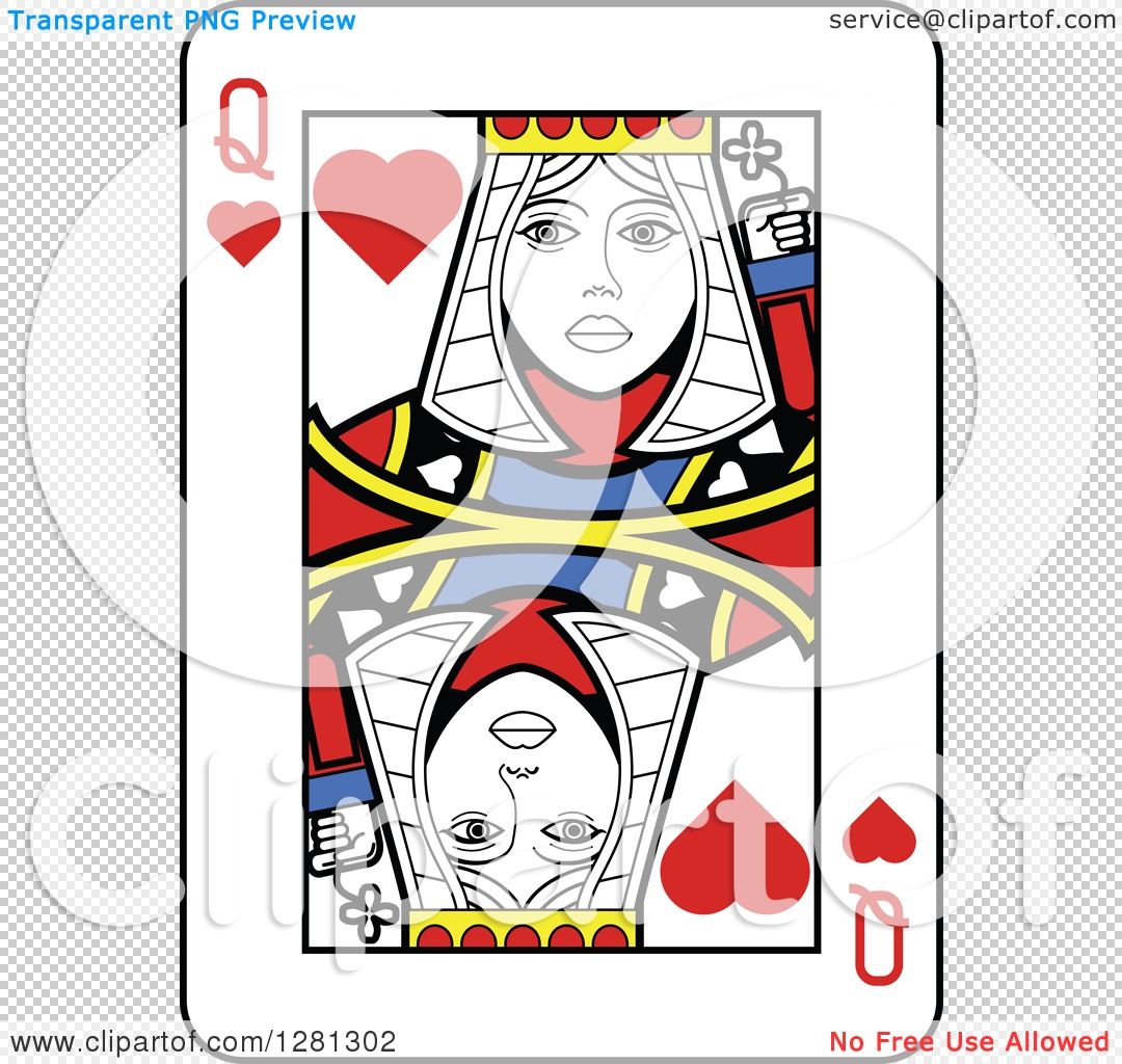 Queen of hearts playing card clipart clip black and white library Clipart of a Queen of Hearts Playing Card - Royalty Free Vector ... clip black and white library