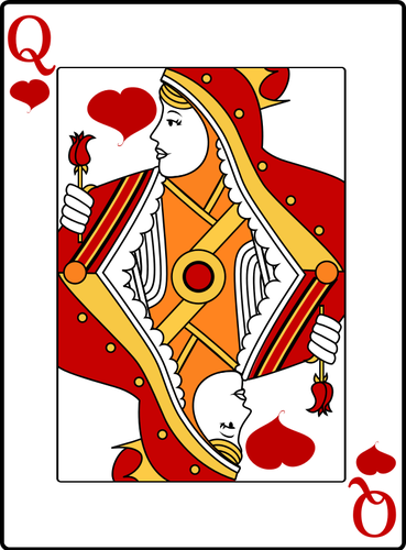 Queen of hearts playing card clipart picture library library Queen of hearts playing card vector drawing | Public domain vectors picture library library