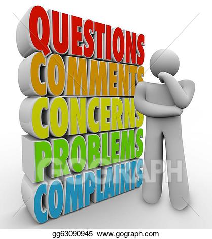 Questions comments concerns clipart clipart royalty free download Stock Illustration - Questions comments concerns thinking ... clipart royalty free download