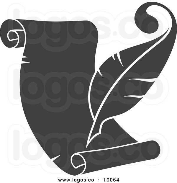 Scroll and quill clipart banner free library Royalty Free Vector of a Grayscale Quill Pen and Scroll ... banner free library