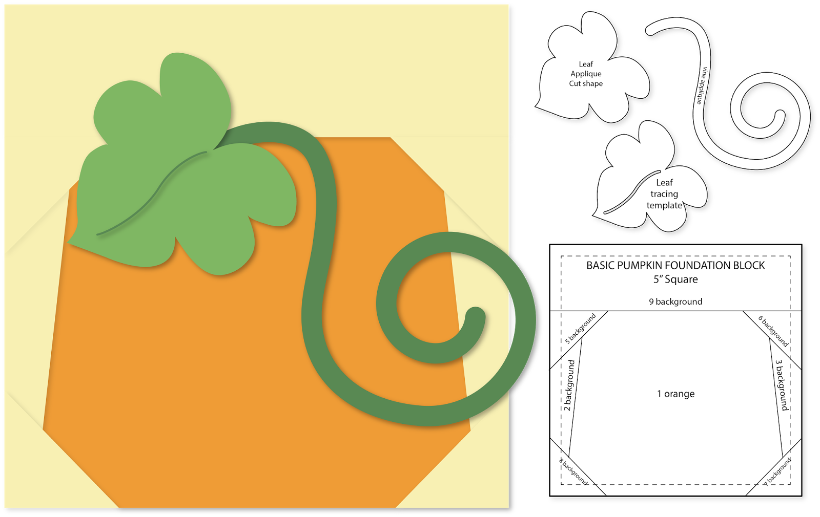 Quilted pumpkin clipart clip library stock Needles 'n' Knowledge: Pumpkins Mini Wall Quilt Foundation Pieced ... clip library stock