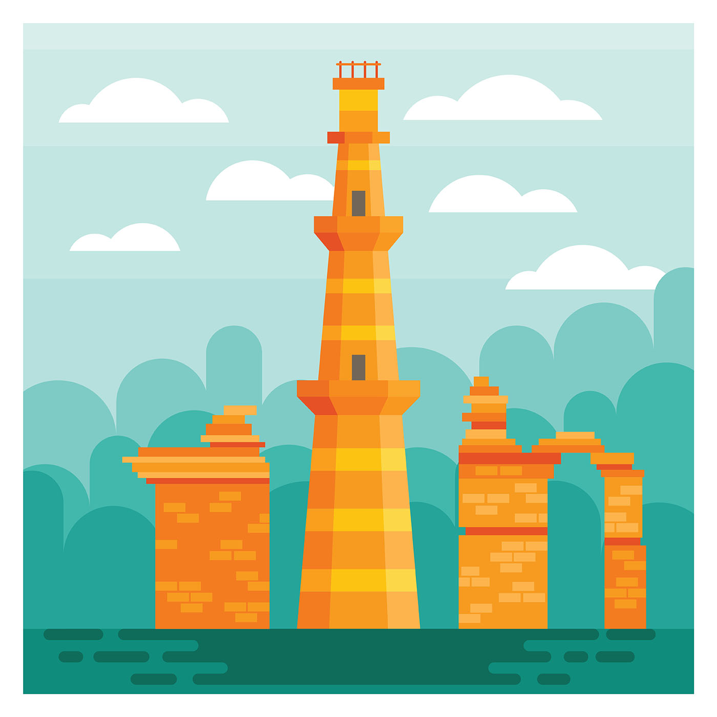 Qutab minar clipart image black and white stock Qutubminar Free Vector Art - (15 Free Downloads) image black and white stock