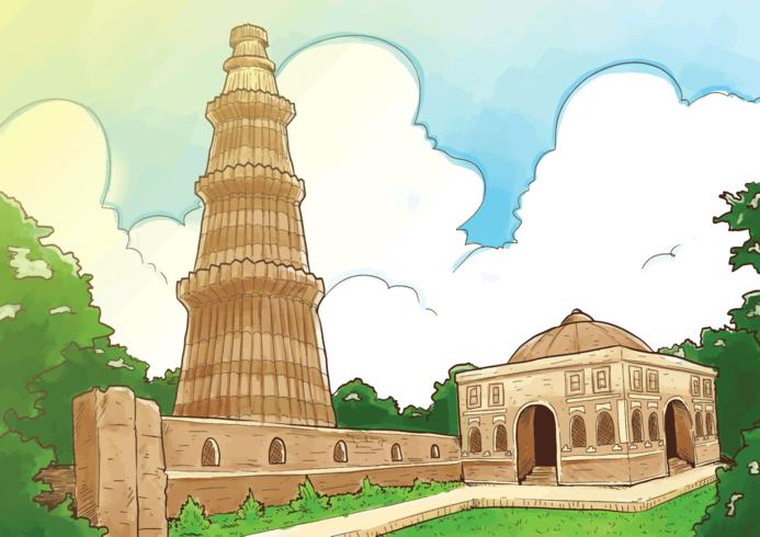 Qutab minar clipart jpg library stock Qutub Minar Illustration - Download Free Vectors, Clipart ... jpg library stock