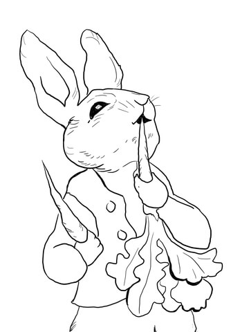 Rabbit and radish clipart black and white clipart library download Peter Rabbit Eating Radishes coloring page | Free Printable ... clipart library download