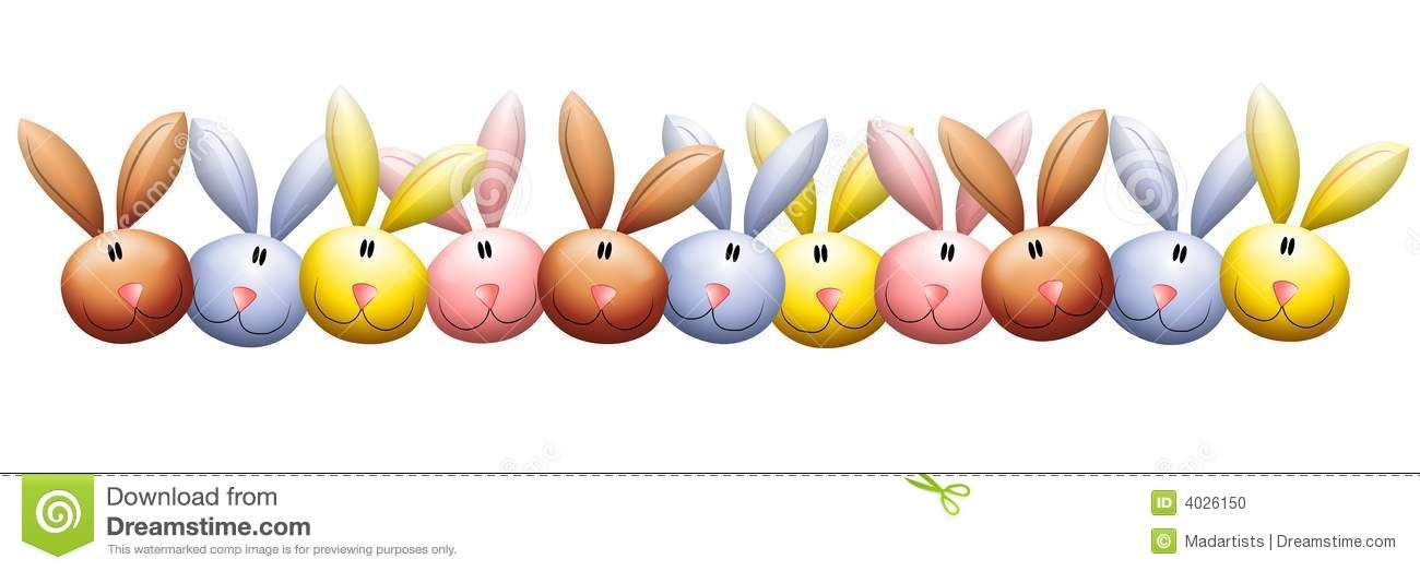 Rabbit border clipart transparent Easter Bunny Rabbit Heads Border Stock Illustration ... transparent