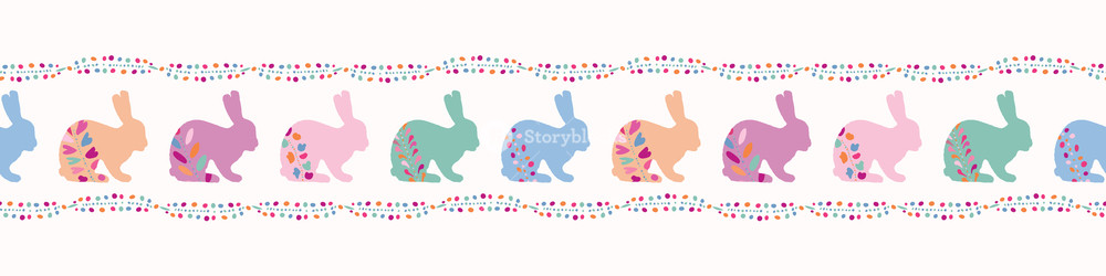 Rabbit border clipart image download Vector Decorated Easter Bunnies Seamless Border Rabbit ... image download