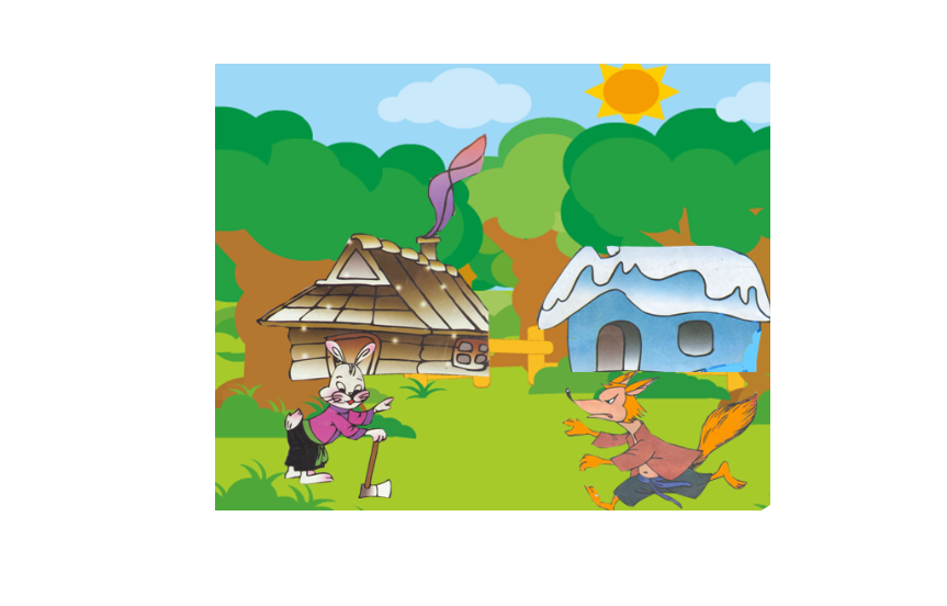Rabbit house clipart clipart free library Fox, rabbit and cock