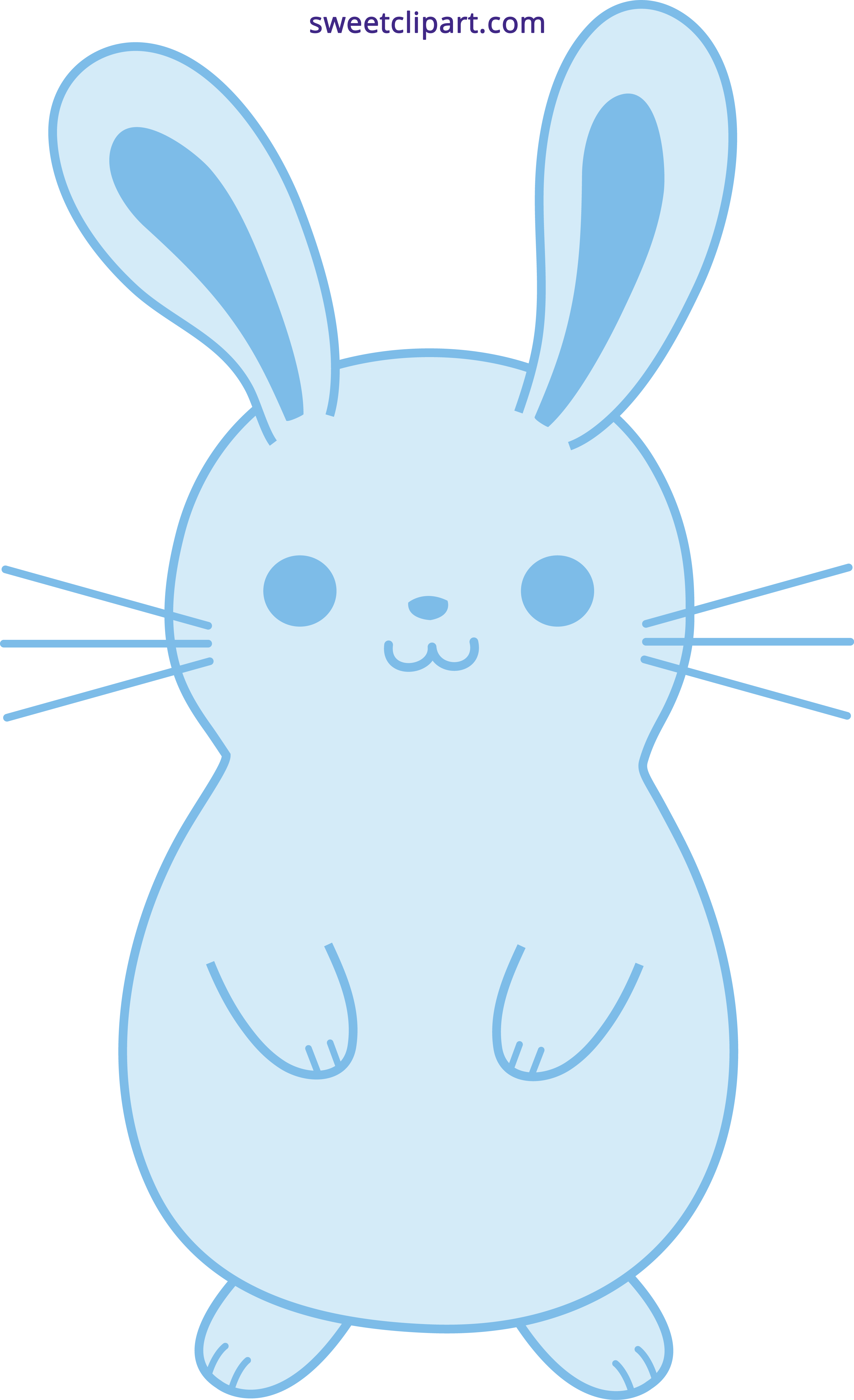 Rabbit with an apple clipart clipart black and white Cute Blue Easter Bunny Rabbit Clipart - Sweet Clip Art clipart black and white