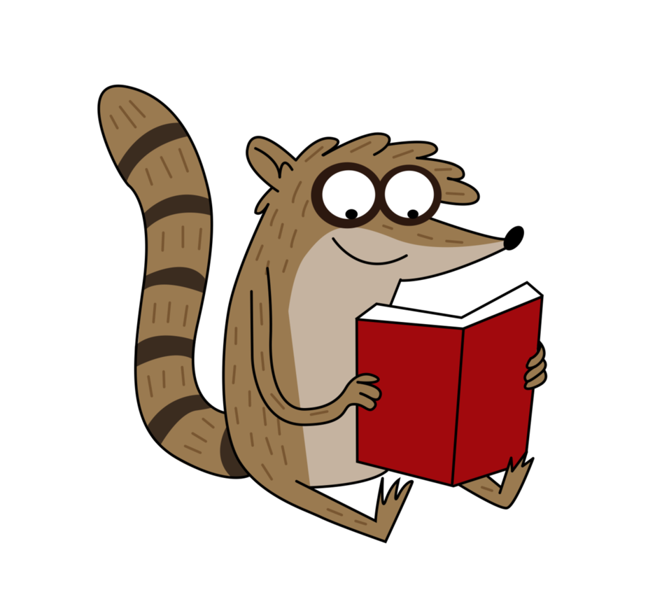 Raccoon reading a book clipart clip freeuse library Rigby is....READING?! by PaulySentry on DeviantArt clip freeuse library