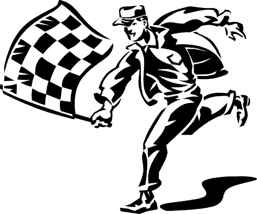 Race car finish line clipart graphic free library Motor Race Official with Checkered Flag - Vector Image graphic free library
