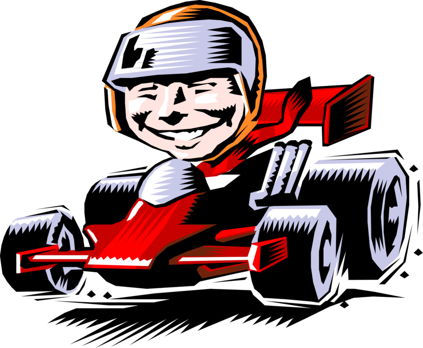Race car wheel clipart clip art library download Race Car Driver Racing on Track - Vector Image clip art library download